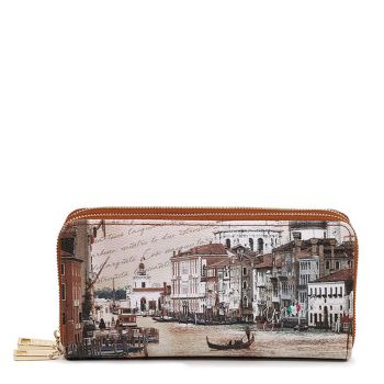Y NOT YES-568 Line – Double Zip Around Wallet with Canal Grande Print for Women