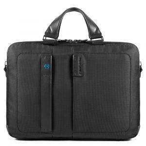 """Портфель с двумя ручками PIQUADRO для ноутбука 15,6 """"и iPad - CA3347P16, ткань цвета Chevron - Черный"""