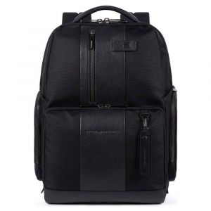 """PIQUADRO Brief 2 Line – Black Fabric and Leather Backpack 15,6"""" CA4532BR2"""
