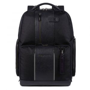 """Рюкзак PIQUADRO для ноутбука 15,6 """"- линия Brief 2, ткань и кожа черного цвета CA4532BR2"""