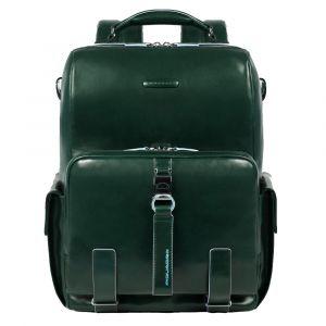 Рюкзак для ноутбука 14 дюймов с плечевым ремнем - линия PIQUADRO Blue Square из зеленой кожи CA4898B2