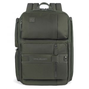 Рюкзак PIQUADRO из ткани и кожи зеленого цвета в стиле милитари с  держателем для ноутбука 14-дюймов линия Tokio - CA4915S107