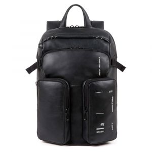 PIQUADRO Kyoto Line – Black Leather Backpack CA4922S106