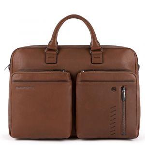 """Портфель PIQUADRO с двумя ручками для ноутбука 15,6 """"и iPad - CA5439S110 в коричневой коже линия Nabucco"""
