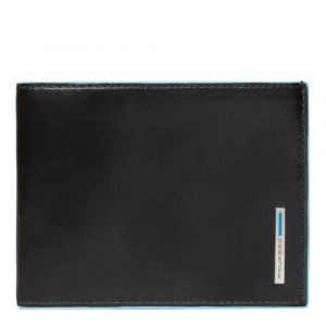 PIQUADRO Black Square Line – Blue Leather Wallet with Coin Pouch PU257B2
