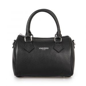 Женская сумка-портфель из черной кожи VIA VERDI. Made in Italy.