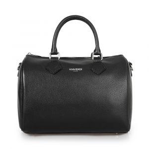 Женская сумка-мешок из черной кожи VIA VERDI. Made in Italy.