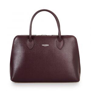Женская сумка с плечевым ремнем из бордовой кожи с сафьяновым принтом VIA VERDI. Made in Italy.