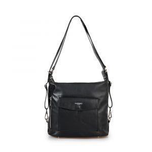 Женская сумка из черной кожи VIA VERDI. Носится двумя способами. Made in Italy.