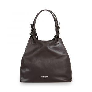 Женская сумка-ведро через плечо из темно-коричневой кожи VIA VERDI. Made in Italy.