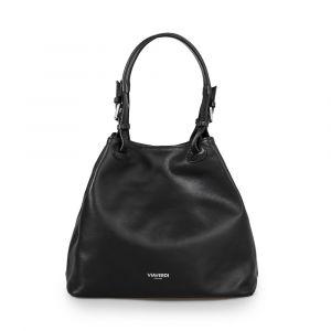 Женская сумка-ведро через плечо из черной кожи VIA VERDI. Made in Italy.