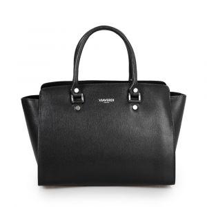 Женская сумка из черной кожи с сафьяновым принтом VIA VERDI. Made in Italy