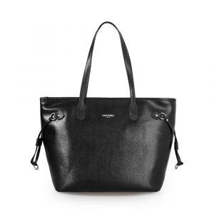 Женская сумка-шоппер через плечо из черной кожи с принтом сафьяна VIA VERDI. Made in Italy.