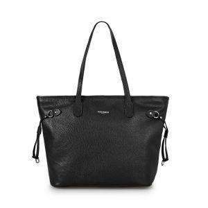 Женская сумка-шоппер через плечо из черной кожи VIA VERDI. Made in Italy.
