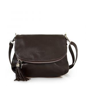 Женская сумка через плечо из темно-коричневой кожи VIA VERDI. Made in Italy.