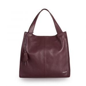 Женская сумка-тоут (Tote) через плечо, из бордовой кожи VIA VERDI. Made in Italy.