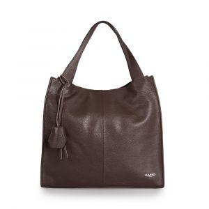 Женская сумка-тоут (Tote) через плечо, из темно-коричневой кожи VIA VERDI. Made in Italy.