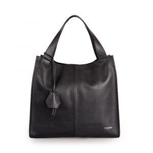 Женская сумка-тоут (Tote) через плечо, из черной кожи VIA VERDI. Made in Italy.