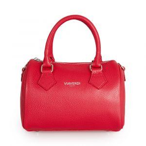 Женская сумка-портфель из красной кожи VIA VERDI. Made in Italy.