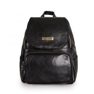 Женский рюкзак с клапаном из черной кожи VIA VERDI. Made in Italy